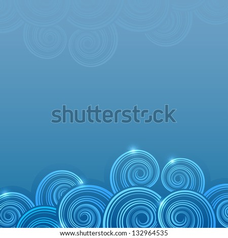 Abstract blue swirly waves vector background with copy space. - stock vector