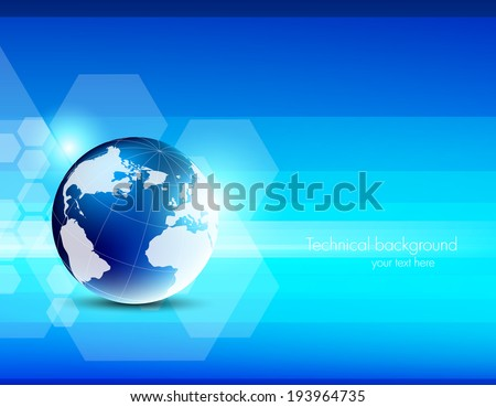 Abstract blue tech background with globe - stock vector
