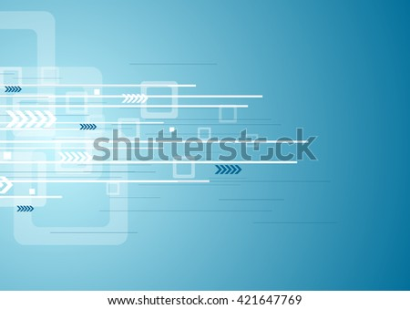 Abstract blue technology background with arrows and squares. Vector illustration design template - stock vector