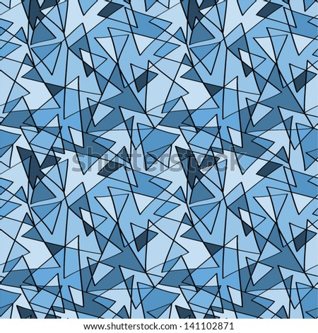 Abstract blue triangles seamless pattern.