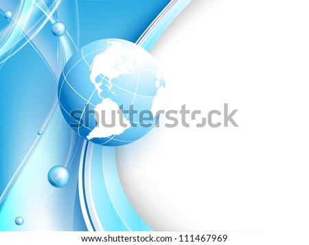 abstract blue vector background with globe and lines. Eps10 - stock vector
