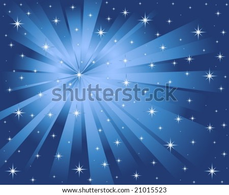Abstract blue vector background with stars.