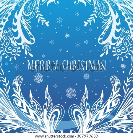 Abstract Blue Vector Christmas Card | Creative ornamental winter ice snow background with merry xmas lettering - stock vector
