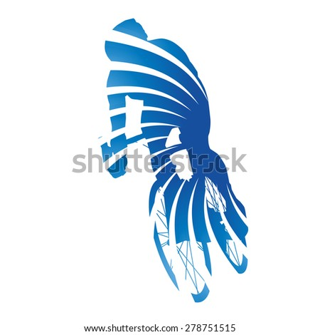 Abstract blue vector cyclist - stock vector