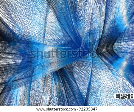 abstract blue vector fractal background - stock vector