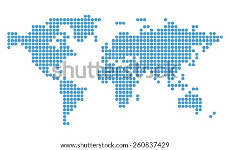 abstract blue vector map of world with circles