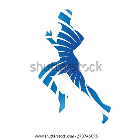 Abstract blue vector runner - stock vector