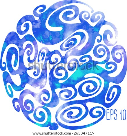 Abstract blue watercolor twirl. Vector design element - stock vector