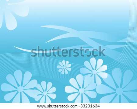 abstract blue wave background with blossom and stripes