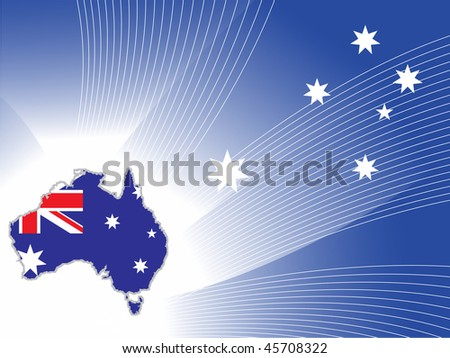 abstract blue wave, star background with australia map - stock vector