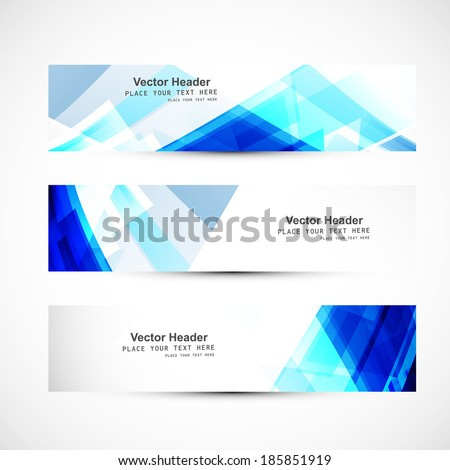Abstract blue wave three header set whit background vector design - stock vector