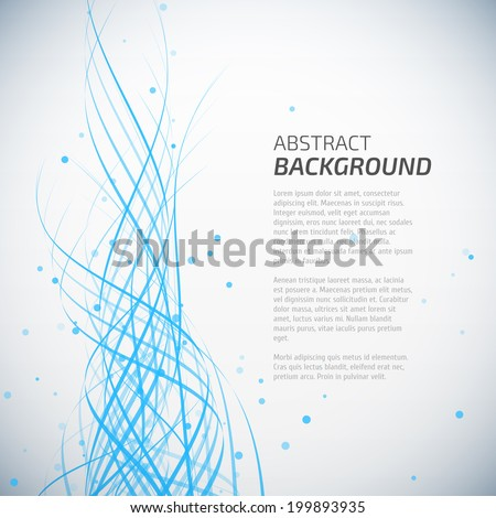 Abstract blue waves background with dots - stock vector