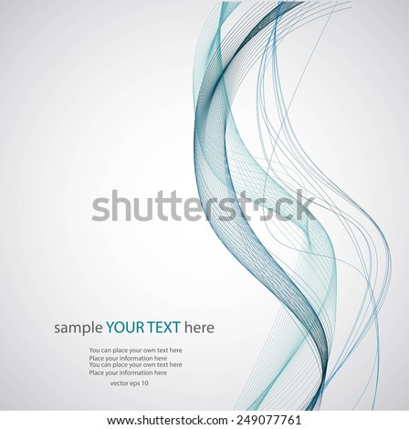 Abstract blue waves on gray background - stock vector