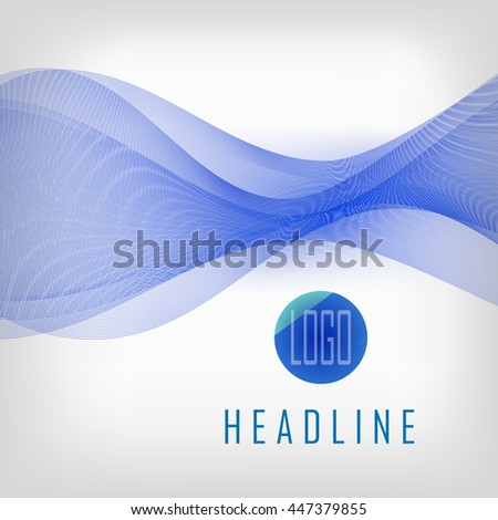 Abstract blue waves on white background. Transparent waved lines for brochure, website, flyer, card, template design  - Vector illustration EPS10