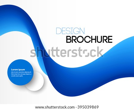Abstract blue wavy lines.  Colorful blue wave vector background. Brochure or website design. - stock vector