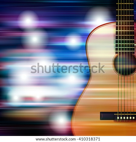 abstract blue white music background with acoustic guitar - stock vector