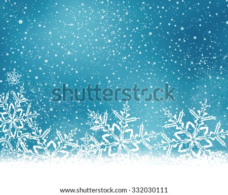 Abstract blue white winter card with snowflakes and space for your text. - stock vector