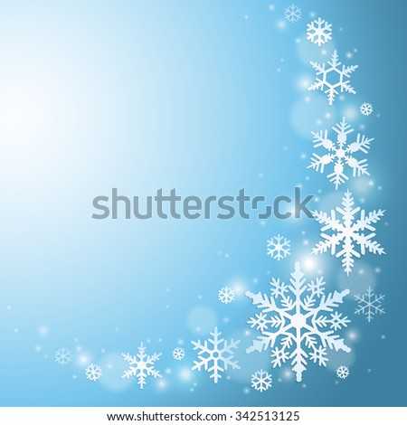 Abstract blue winter background with snowflakes - stock vector