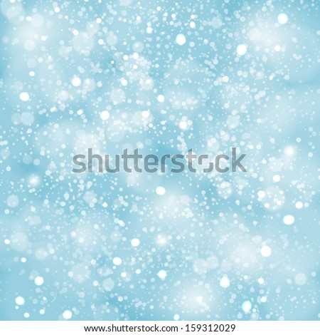 Abstract blue winter Christmas background with bokeh lights - stock vector