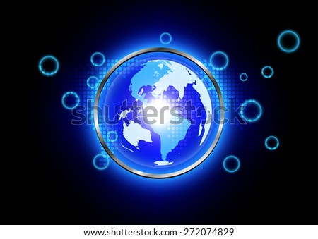abstract blue world background technology  with metal radius - stock vector