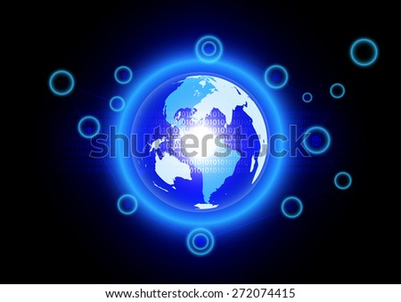 Abstract blue world effect with digital technology background - stock vector