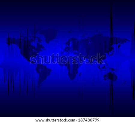 Abstract Blue World Map Illustration - stock vector