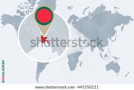 Bangladesh map stock images royalty free images vectors abstract blue world map with magnified bangladesh flag and map vector illustration gumiabroncs Image collections