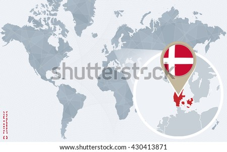 Abstract blue world map magnified denmark stock vector 430413871 abstract blue world map with magnified denmark denmark flag and map vector illustration gumiabroncs Images