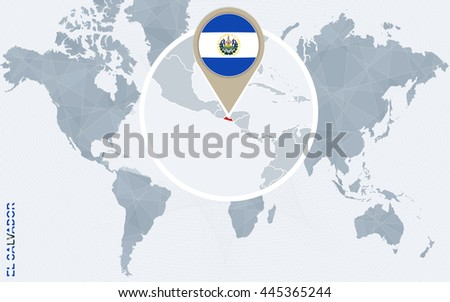 Abstract blue world map magnified el stock vector 445365244 abstract blue world map with magnified el salvador flag and map vector illustration gumiabroncs Image collections