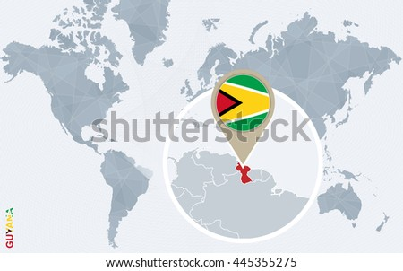 Abstract blue world map with magnified Guyana. Flag and map. Vector Illustration.