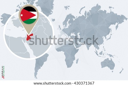 Abstract blue world map magnified jordan stock vector 430371367 abstract blue world map with magnified jordan jordan flag and map vector illustration gumiabroncs Images