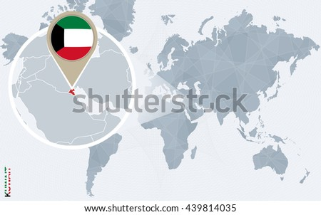 Abstract blue world map with magnified Kuwait. Kuwait flag and map. Vector Illustration. - stock vector
