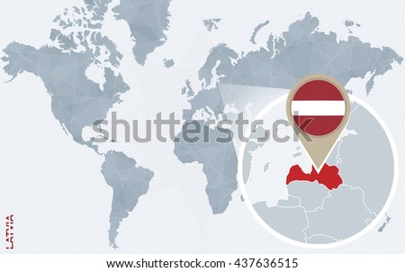 Abstract blue world map with magnified Latvia. Latvia flag and map. Vector Illustration. - stock vector