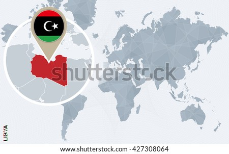 Abstract blue world map magnified libya stock vector 427308064 abstract blue world map with magnified libya libya flag and map vector illustration gumiabroncs Image collections
