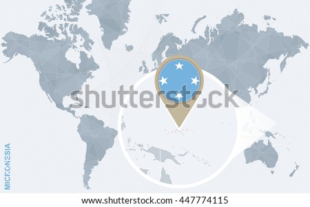 Abstract blue world map with magnified Micronesia. Vector Illustration. - stock vector