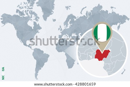 World map zoom on usa venezuela vectores en stock 275858669 abstract blue world map with magnified nigeria nigeria flag and map vector illustration gumiabroncs Gallery