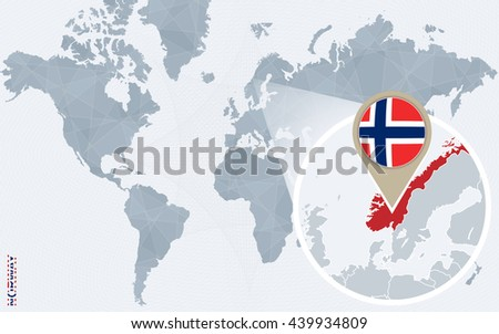 Abstract Blue World Map Magnified United Stock Vector - Norway map world
