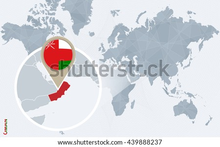 Abstract Blue World Map Magnified Oman Stock Vector - Oman in world map