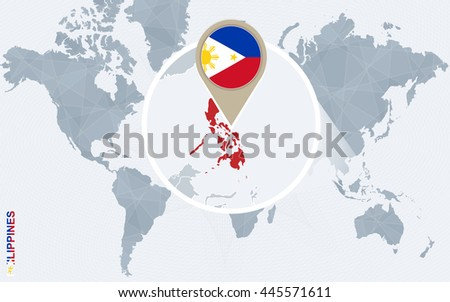 Abstract blue world map with magnified Philippines. Flag and map. Vector Illustration. - stock vector