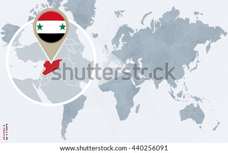 Abstract blue world map with magnified Syria. Syria flag and map. Vector Illustration. - stock vector