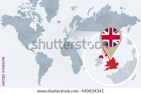 Abstract blue world map magnified united stock vector 440834341 abstract blue world map with magnified united kingdom uk flag and map vector illustration gumiabroncs Images