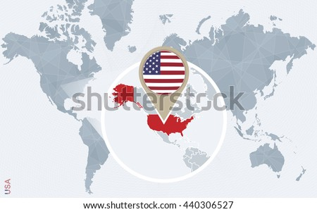 Abstract blue world map magnified usa stock vector 440306527 abstract blue world map with magnified usa united states of america flag and map gumiabroncs Images