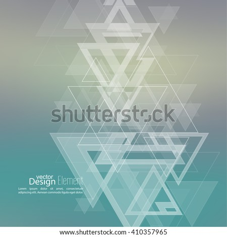 Abstract blurred background with hipster stream flying triangles debris. Pattern. For cover book, brochure, flyer, poster, layout, template, magazine, t-shirt. Vector design. subtle. color, green - stock vector