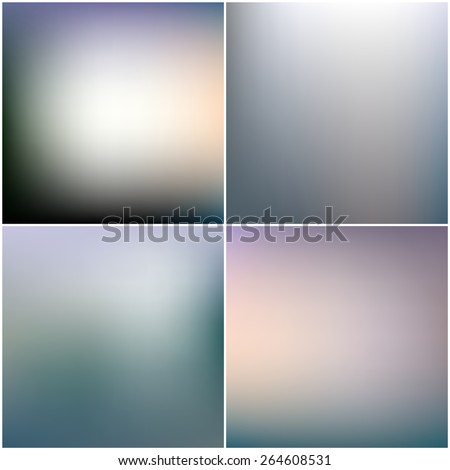 Abstract blurred backgrounds set. Editable blurred backgrounds set - stock vector