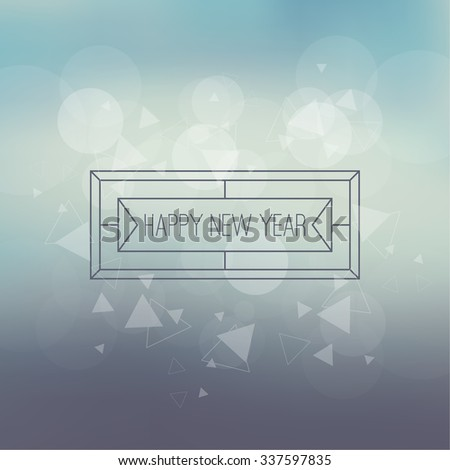 Abstract blurred vector background with sparkle stars and hipster border, frame. For decorations for Merry Christmas, New Year, festivals,  xmas, glamour holiday, illuminated, celebration - stock vector
