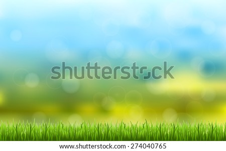 abstract bokeh and lens flare pattern with natural green grass and blue sky background (vector) - stock vector