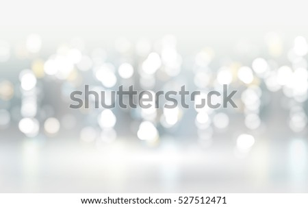 Abstract bokeh particles background, white, blue and yellow spots. 3D illustration.