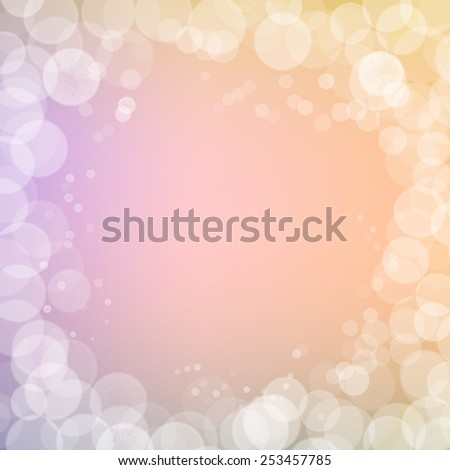 Abstract bokeh sparkles frame on pink blurred background
