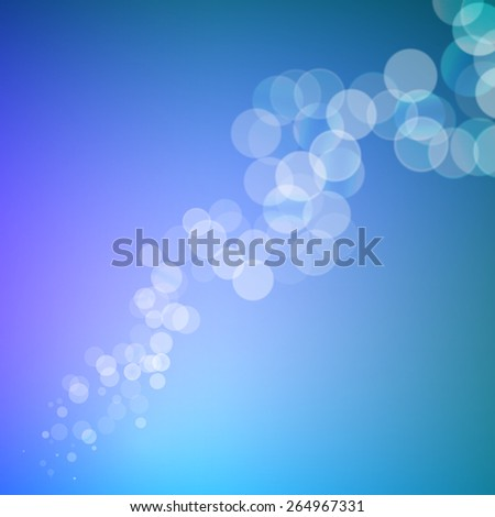 Abstract bokeh sparkles line on blue blurred background - stock vector