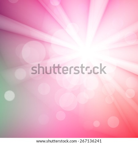 Abstract bokeh sparkles on pink blurred background - stock vector